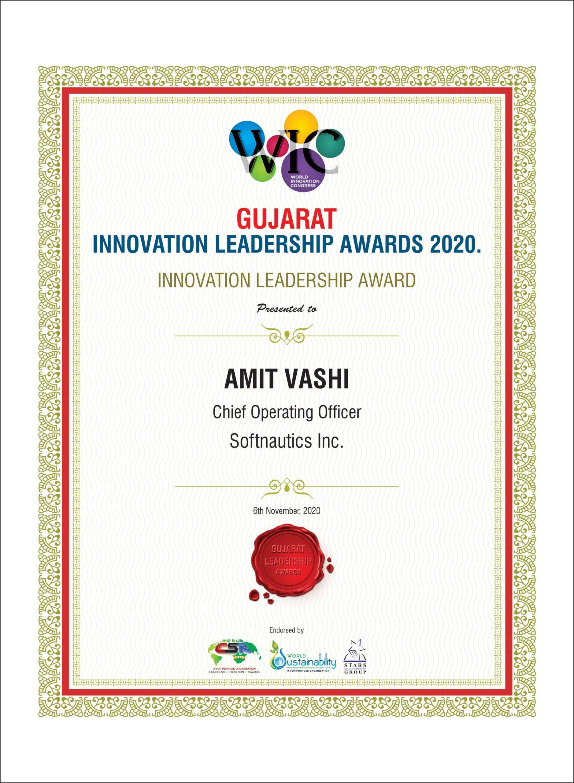 Innovative Leadership Award Amit Vashi COO